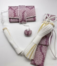 花嫁和装 はこせこ かいけん 新品 婚礼用 筥迫 懐剣2点セット 絞り風 薄ムラサキ系