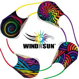 凧 カイト 折りたたみカイト WINDNSUN ポケットカイト リップストップナイロン 骨なし バックパック型収納ケース付
