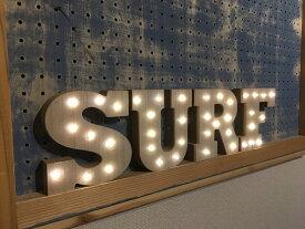 【送料無料!!】ウッド製 おしゃれ マーキーライト インテリア WOODEN MARQUEE LIGHT SET (SURF) ディスプレイ