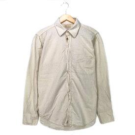 melton ワークシャツ ホワイト メルトン クリーム 白 長袖 オフホワイト 古着【中古】wv1912-0777
