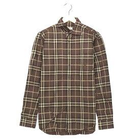 バーバリー ブランドシャツ サイズ表記 M ブラウン Burberry チェック 長袖 茶 刺繍 ロゴ 古着【中古】wv1912-0807