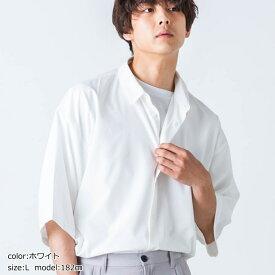 SALE50%OFF バンドカラービッグシャツ メンズ シャツ 半袖 カラー 羽織 トップス 夏 ビッグ オーバーサイズ WEGO ウィゴー