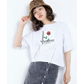 【63%OFF】リングZIPローズフォトT レディース 女の子 Tシャツ 半袖 Uネック お揃い 双子 シミラー WEGO ウィゴー フォト トップス 夏 トレンド ガーリー ストリート