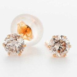 【送料無料】キラキラダイヤが耳元に…新色イエロー☆ピンクとブラウンダイヤの輝きの競演♪K18シリコンキャッチ付・数量限定・アウトレット