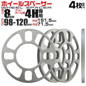 【最大2000円クーポン配布中】ホイールスペーサー 8mm PCD100/114.3 4穴 シルバー 4枚セット B10C 送料無料
