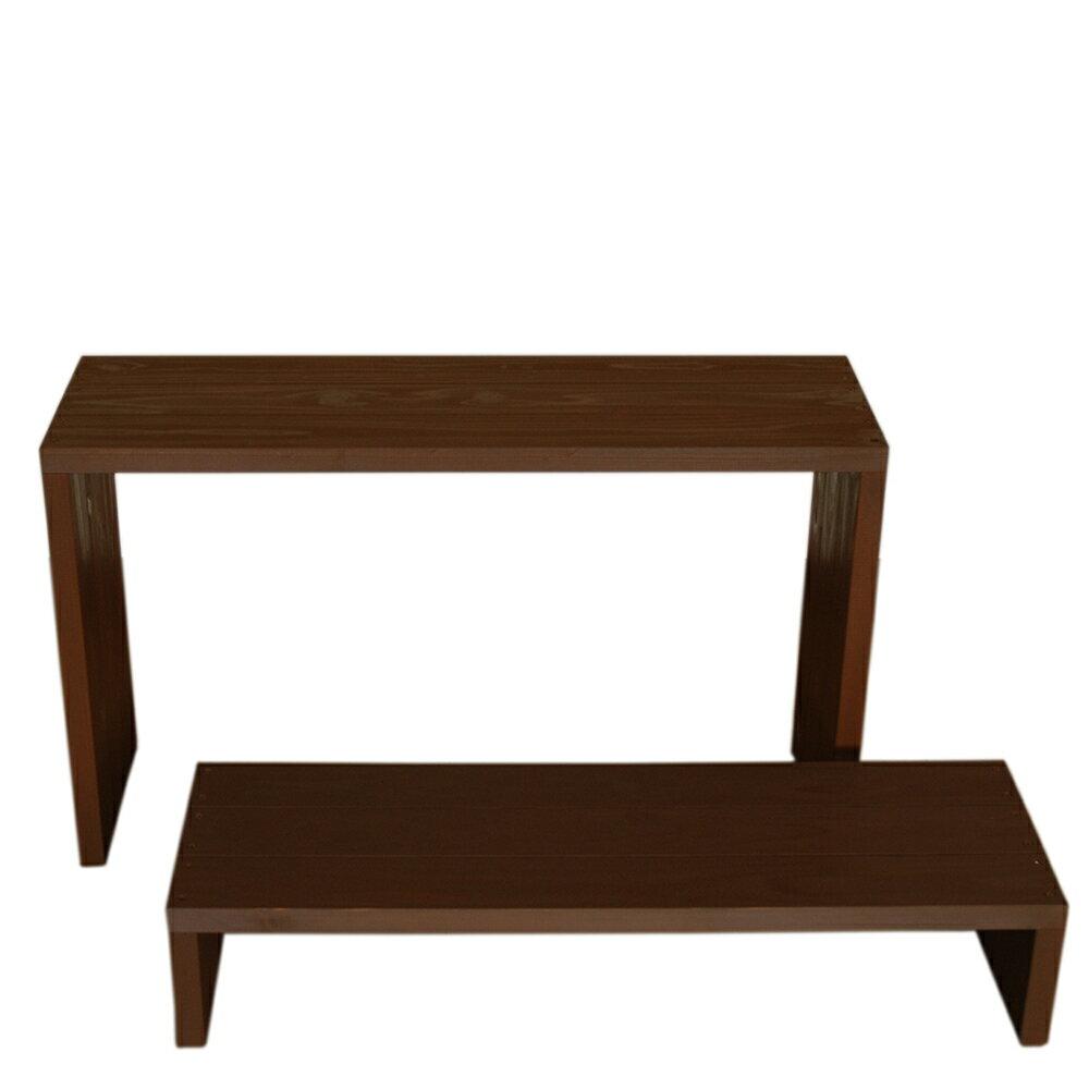 Welcome wood ウッドステージ WSW902LH-CB ワイド2段タイプ  色はカフェブラウン(CB)   (フラワースタンド  フラワーラック プランタースタンド 飾り台)
