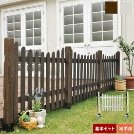 木製フェンス ピケットフェンス 幅120cm U型 基本セット 土中用 埋込用 天然木 SFPU1200F-UB【送料無料】