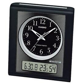 CASIO カシオ 高輝度グリーンLEDライト 日付・温湿度表示 秒針停止機能付き目覚まし電波時計 TQT-351NJ-1JF(置き時計)