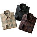 ウール入り暖かチェック柄シャツ 同サイズ3色組 上質仕上げ 秋冬 40代 50代 60代 957605