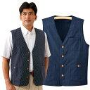 日本製 久留米織ベスト 藍染め調 和柄ベスト メンズ 春夏 957263 50代 60代