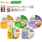 ハウス食品区分3:舌でつぶせるやさしくラクケアやわらかプリン・ゼリー・豆腐5種類セット