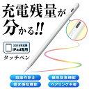 【商品到着後レビュー投稿で特典あり!】 タッチペン ipad 充電残量が分かる スタイラスペン 傾き感度 吸着機能 極細 高感度 Apple