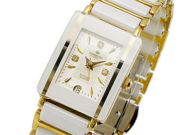 ジョンハリソン 腕時計 レディース JOHN HARRISON 時計 ホワイト ゴールド 白色 金色 J.HARRISON ジョン・ハリソン ステンレス セラミック ベルト 人気 ブランド おしゃれ かわいい 日付カレンダー 女性 ギフト プレゼント