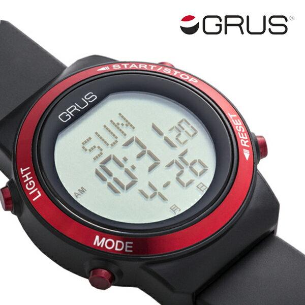 GRUS グルス 歩幅 歩数 消費カロリー 計測 腕時計 ウォーキングウォッチ GRS001-01 レッド × ブラック 赤 黒 健康 時計 健康ウォッチ 散歩 デジタル メンズ レディース 男性 女性