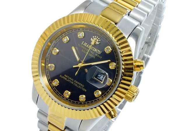ジョンハリソン 腕時計 レディース ソーラー 電波 JH-026LGB 時計 JOHN HARRISON ジョン・ハリソン シルバー ブラック ゴールド 人気 ブランド ジョン ハリソン ジョンハリソン腕時計 ジョンハリソン時計 オススメ 女性 ギフト プレゼント