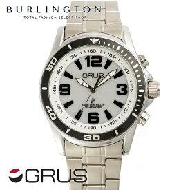 95f781deda 送料無料 時刻・日付を音声でお知らせ♪ グルス 腕時計 メンズ レディース GRUS 音声時計 ボイス ウォッチ 電波 GRS004-01 ホワイト  シルバー 人気 ブランド 音声 機能 ...