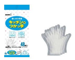 ショーワグローブ 使いきり手袋 キッチンでつかっ手 ポリエチレン手袋 フリーサイズ (48枚入) ウェルネス