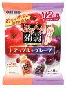 オリヒロ ぷるんと蒟蒻ゼリー パウチ アップル+グレープ (20g×12個入) ウェルネス
