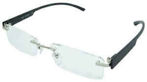 エール シニアグラス 老眼鏡 ふちなしタイプ AF105 1.0度 ブラック (1個) 【一般医療機器】