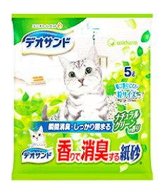 ユニチャーム ペットケア デオサンド 香りで消臭する紙砂 ナチュラルグリーンの香り (5L) 猫用 ペット用トイレ用品