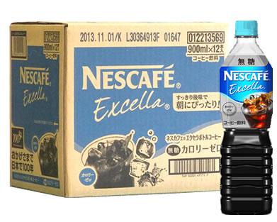 【◇】 【ケース】 ネスカフェ エクセラ カロリーゼロ 無糖 ボトルコーヒー (900ml×12本) 【4902201411110】