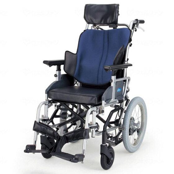 送料無料 日進医療器 介助用 ティルト車椅子 座王 NAH-F5   車いす 車イス くるまいす 背折れ 折り畳み 折りたたみ エアタイヤ 介助ブレーキ付き バンド式ブレーキ アルミフレーム