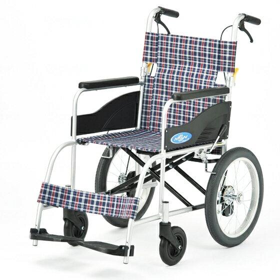 送料無料 日進医療器 介助用 車椅子 NEO-2 | 車いす 車イス くるまいす 背折れ 折り畳み 折りたたみ ノーパンクタイヤ ハイポリマータイヤ 介助ブレーキ付き バンド式ブレーキ アルミフレーム JISマーク