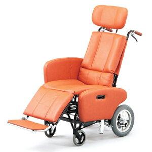 車椅子 ティルト リクライニング スチール サイドガード付 ビニールレザー 清潔 フルリクライニング 日進医療器 NHR-7B 介助用 車イス 車いす 足踏みブレーキ 転倒防止 ヘッドサポート着脱 施