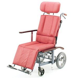 フルリクライニング スチール製 車椅子 ビニールレザー 清潔 ふき取り 日進医療器 nissin NHR-12 介助用 車イス 車いす くるまいす 足踏みブレーキ ヘッドサポート着脱 施設 病院 背もたれ 楽な