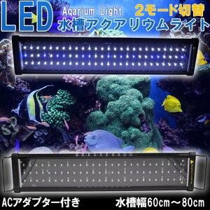 【即日発送】水槽ライト 水槽用照明 アクアリウムライト LED 観賞魚ライト 60cm 〜 80cm サンゴ 珊瑚 600 78発LED 白 / 青 ライトリフト 点灯モード切替可能【送料無料】