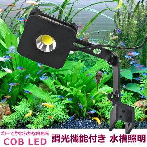 【即日発送】水槽照明 調光機能付き 白色 COB LED 45cm-60cm水槽用 アクアリウムライト 観賞魚 サンゴ 水草