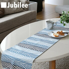 テーブルランナー 北欧 グリーンリーフストライプ Jubilee 英国デザイン 183×30 ハンドメイド 麻 リネン 撥水 新生活 新居 引越し祝い 新築
