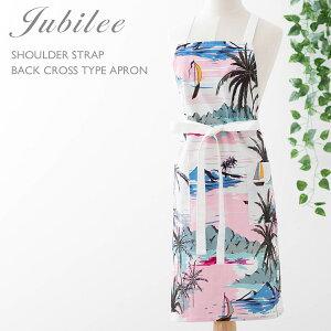 ジュビリー Jubilee ハワイアン 肩紐 バッククロス型 南国 パームツリー ヤシの木 フローラル フラワー 花柄 コットン エプロン かわいい おしゃれ ブランド イギリス デザイナー 高級サテンコ