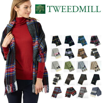 】Tweedmill 183 x48cm 대형 스톨 스카프 머플러 18색큰 격자 줄무늬 한정 칼라 선물 기프트