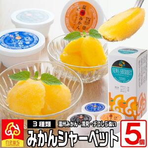 濃厚&なめらか!みかん専門店のシャーベット詰め合わせ《115ml×5個》定番の温州ミカン、甘いのにさっぱりとした清見タンゴール、濃厚な味わいのデコしらぬいの3種自社栽培の柑橘たっぷ
