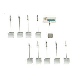 (pkpohs) スワイヤー メモクリップ メモスタンド 10個セット カードスタンド 机上用品 (シルバー10個)