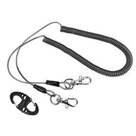 釣り用 安全 ロープ スパイラルコード 尻手ロープ ワイヤ 竿の落下防止 自動伸縮 最大伸長2.5m カラビナ付き 釣り/カヤック/キャンプ