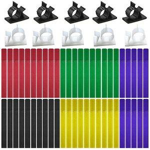 20個調節可能なケーブルクリップと50個のケーブルタイ、FineGood接着剤ナイロンワイヤクランプ5色の再利用可能な留め具付きケーブルホルダー接着コードロープオーガナイザー管理