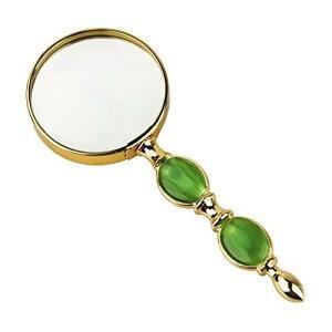 手持ちルーペ おしゃれ レディース メンズ 拡大鏡 6倍 見やすい 手持ち コンパクト 虫眼鏡 携帯 かわいい 緑玉色とゴールドの組み合わせ 華やかで美しい 母の日 クリスマス 誕生日 記念日 プ