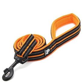 Rantow 110cm長さ2.5cmワイドな通気性の犬のリーシュ、3Mナイトセーフティ・リフレクティブ・ストライプ、柔らかくて丈夫で快適な犬のロープ、強いメタル・フック付き (橙)