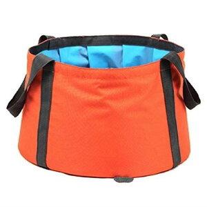 TRIWONDER バケツ 折りたたみ 足湯バケツ 10L 桶 大容量 コンパクト 簡易バケツ 洗面器 自立式 旅行 出張 釣り 洗車 超軽量 収納袋付 オレンジ