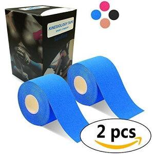 2巻入 テーピングテープ キネシオ テープ 筋肉・関節をサポート 伸縮性強い 汗に強い パフォーマンスを高める 5cm x 5m ブルー