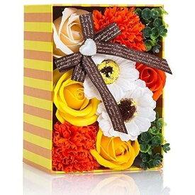 ソープフラワー 創意方形ギフトボックス 誕生日 記念日 母の日 先生の日 バレンタインデー 昇進 転居など最適としてのプレゼント 黄