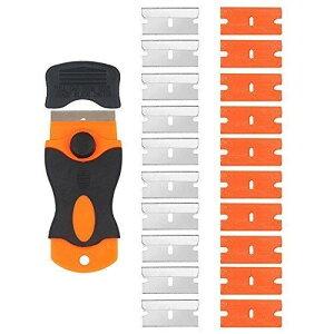 ArtGear 業務用ガラス掃除プロ用ツール ポケットスクレーパー 不銹鋼替刃付 10 個+プラスチック替刃 10 個,クレーパー ステッカーやガスケット、のり剥がしに