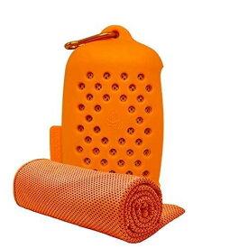 ASKARI 冷感タオル 冷却タオル クールタオル 7色 速乾タオル 超吸水 軽量 スポーツタオル 熱中症対策 (オレンジ, 冷感タオル)
