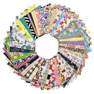 GUQI 200枚 綿 生地 はぎれセット 花柄 DIY手作り カットクロス パッチワーク 布 (10cm x 10cm)