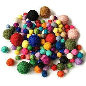 150個 ウールボール フェルト カラフル ガーランド 羊毛繊維 径1.2cm/ 1.5cm/ 2cm/ 3cm ボール 超軽量 可愛い 25色 パーティー飾り