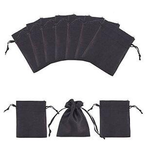 PH PandaHall 約50個セット 10x8cm サテンギフトバッグ ドローストリングバッグ 紐付き 和風収納袋 コットン袋 無地 ギフトバッグ ジュエリーポーチ 収納 プレゼント用 ミニポーチ 収納袋 手作り