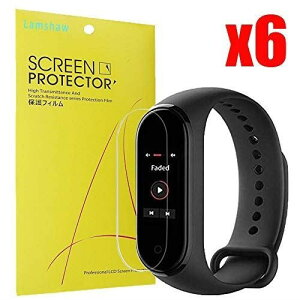 Lamshaw Xiaomi Mi Band 4 保護フィルム, 液晶保護フィルム 対応 Xiaomi Mi Band 4 活動量計 (6枚)