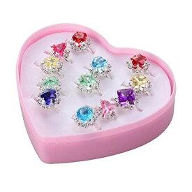 BESTOYARD 指輪セット おもちゃ 子供 女の子リング かわいい指輪 宝石 サイズ調節でき 12個セット(混合タイプ)